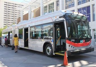 BYD's new 60-foot articulated battery electric transit bus for Albuquerque Rapid Transit. Photo provided by BYD.