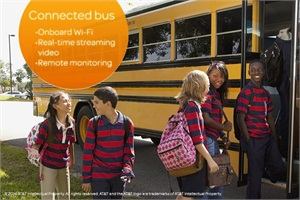 "The ""Connected Bus"" solution, from AT&T and Alcatel-Lucent Enterprise, uses wireless technology, AT&T's 4G LTE network and devices to extend Internet connectivity on buses, offer real-time streaming video, and allow remote monitoring of driver and student behavior. Photo by AT&T."