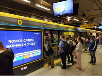 AdMobilize's AI-powered Audience Analytics System has been integrated into new interactive subway doors that are now deployed at three subway stations on the Yellow Line of the Sao Paulo Metro in Brazil. Photo: AdMobilize