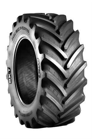 The Agrimax V-Flecto tire is part of BKT's radial tire lineup for high power tractors.