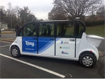 Albemarle County, Perrone Robotics Inc., and JAUNT Inc. announced a Letter of Intent to enter into a partnership to develop, test, and operate an autonomous transit shuttle service pilot in Albemarle County, Virginia.  Photo: Albemarle County