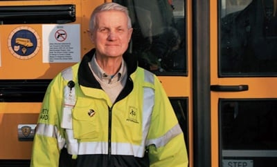 """Albin J. Weiler, a longtime school bus driver, wrote """"Driven to Learn,"""" whichdetails his experiences and those of his fellow drivers and includes pupil transportation tips. Photo courtesy Ron Humphrey, Windjammer Adventure Publishing"""