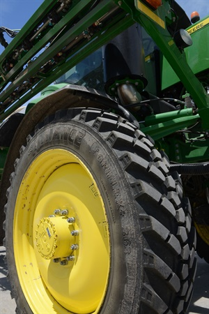 Showgoers can get a close-up look at ATG's Alliance Agriflex 363 VF 380/90R46 sprayer tire mounted on a John Deere R4038 at the Farm Progress Show.
