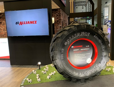 Alliance displayed its new 398 Multipurpose tire, which is rated up to 62 mph on the road. The tire won a medal at Agritechnica.