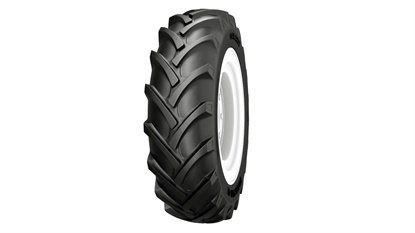 The Galaxy EarthPro 45 R-1 farm tire features a curved-tread design.