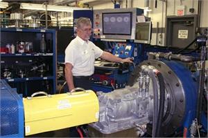 Here, a Jasper Engines and Transmissions associate tests a remanufactured Allison transmission.