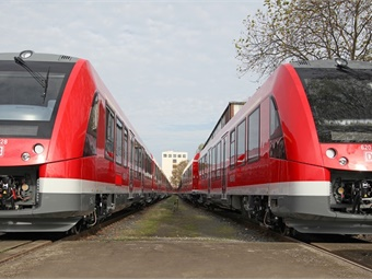 The two-part Coradia Lint trains feature a seating capacity of 150 passengers and 18 bicycle parking spaces.