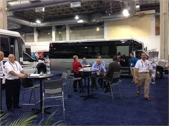 Amertrans debuted the new R330 Series vehicle featuring a RAM 5500 SLT chassis at BusCon 2013 in Chicago.