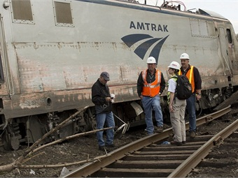NTSB officials at the site of the Amtrak train #188, which derailed outside of Philadelphia in May 2015. Photo: NTSB/Cassandra_Johnson