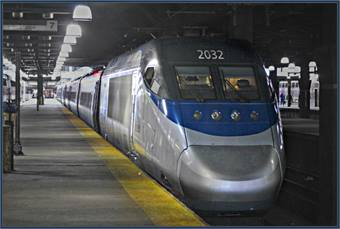 Amtrak Acela at Boston Station. Photo via Flickr- Loco Steve