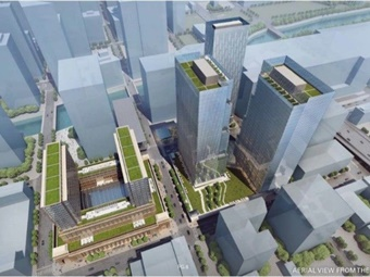 Rendering shows aerial view from of the west of the reimagined Union Station development in Chicago. Courtesy Amtrak