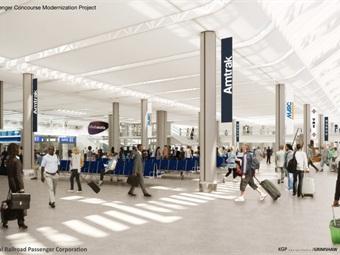 Rendering of Washington Union Station's modernized intercity and commuter rail concourse. Credit: KGP design studio/Grimshaw)