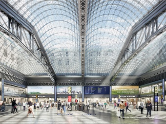 Rendering of Moynihan Train Hall center of concourse. Image: SOM-Volley