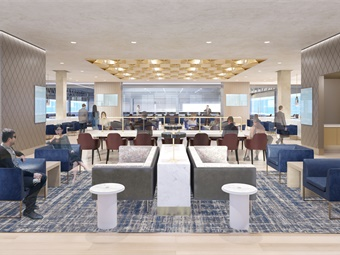 Rendering of Amtrak's Metropolitan Lounge in Moynihan Train Hall. Image: Amtrak