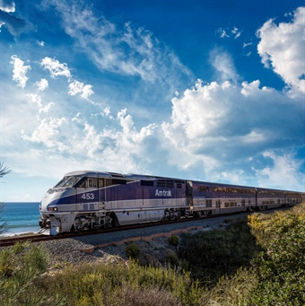 The Pacific Surfliner travels along a 351-mile coastal rail route through San Diego, Orange, Los Angeles, Ventura, Santa Barbara and San Luis Obispo counties, serving 29 stations. Photo: Amtrak Pacific Surfliner