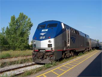 An Amtrak train on the Maple Leaf route, which runs from New York to Toronto. Photo courtesy of Diego3336 via Flickr.