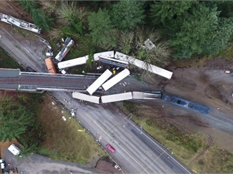 The Dec.18, 2017 derailment of Amtrak train #501 killed three people and injured 62. Photo: Washington State Patrol