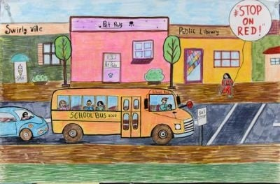 Anita Krastev's entry took first place for grades 3 to 5 in the 2016 National School Bus Safety Week poster contest. Photo by Jaime Gallego