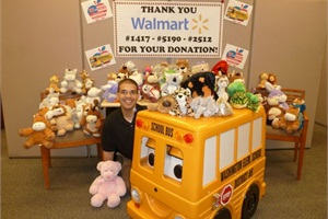 Washington Elementary School District #6 Transportation Supervisor for Special Education Antonio Mlynek says three Walmart stores in Arizona donated $250 toward the purchase of stuffed animals for special-needs bus passengers.