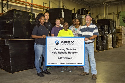 Apex Tool Group has donated50-plus pallets of tools to help with hurricane clean up and recovery efforts.