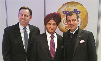 Apollo Tyres Ltd. Chairman Onkar Kanwar (center) is flanked by his son, Neeraj Kanwar, vice chairman and managing director (right), and Steven Smidlein, senior vice president for Apollo Vredestein Tyres North America Inc., at the inauguration of the Apollo Tyres plant in Hungary.