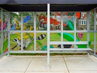 Five bus stops along the route will be decorated with designs from local artists, commissioned by Arlington Public Arts to enhance the experience of waiting for the bus and complement the BRT elements that improve the ride itself.