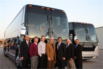 From left to right: Chuck Gunnels, regional dir., Arrow Stage Lines; Steve Busskohl, CEO, Arrow Stage Lines; Luke BussKohl, regional dir. / national charter sales dir., Arrow Stage Lines; Doyle Busskohl, chairman of the board, Arrow Stage Lines; Gaetan Bolduc, CEO, Prevost; Dann Wiltgen, VP, key accounts, Prevost; and Keith Hayward, regional sales manager, Prevost.