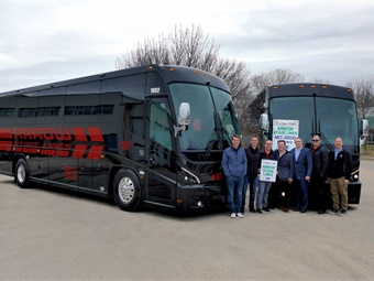 Special delivery: Among the first to place an order the all-new MCI J3500, Arrow Stage Lines' Alex Busskohl, Luke Busskohl and Jeff Howes, from left, marked the delivery at its Omaha, NE location with MCI representatives Aram Nikitas, Paul Remillard, David Dunn and Shane Sutyla.
