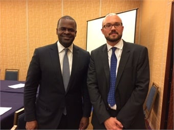 Matt Cole speaks with Kasim Reed, mayor of Atlanta, during the 2015 U.S. Conference of Mayors. Cubic designed and delivered MARTA's contactless Breeze Card system, which generates more than 106 million rides per year by local riders and visitors to the city.