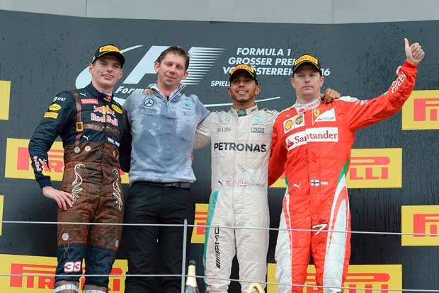 The victory podium in Austria.