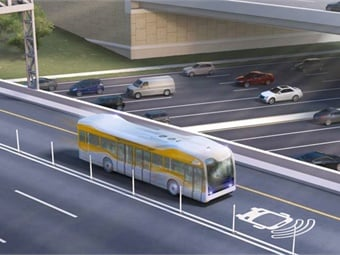 A depiction of full-sized, full-speed bus in a live service environment.