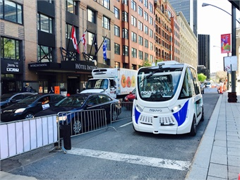 Navya's electric-powered AUTONOM CAB, shown in Montreal at UITP 2017, began service in January 2018, which is operated by Keolis. Photo: METRO Magazine