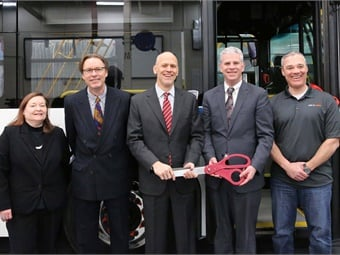BAE Systems and Broome County Transit officials held a ribbon cutting ceremony to celebrate Broome's addition of three buses powered by BAE's Series-ER propulsion system.