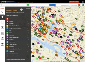 Screenshot via CrimeMapping.com depicts locations of various crimes in the system.