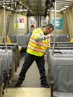 Dominic Cisneros spot checks the train. BART