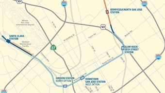 A map of the BART Silicon Valley Extension Phase 2.