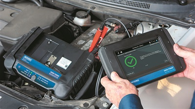 Midtronics' DSS-7000 battery diagnostic service system services start-stop, hybrids and conventional vehicles. Its capabilities include reserve capacity analysis.