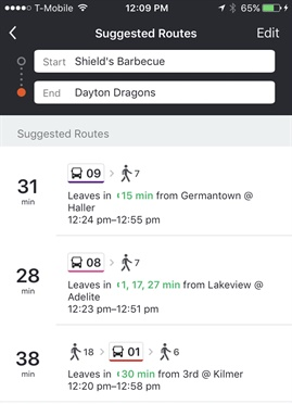 A screenshot of the Moovit app, a real-time crowd-sourced public transit app, recently launched with the Greater Dayton RTA. Photo courtesy of Moovit.