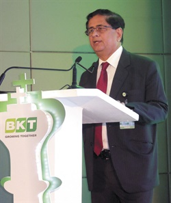 During a media presentation, Dilip M. Vaidya, president and director of technology for BKT, explained the company's use of new technology in its tires along with sharing new tire sizes headed for the market.