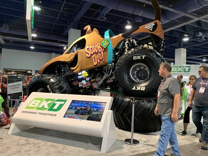 In recent years the BKT booth at the SEMA Show has featured a show-stopper — a Monster Jam truck.