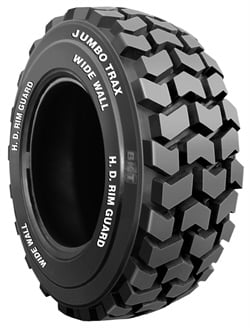 Deeper tread depths are a trend in small OTR tires, according to BKT. The company's Jumbo Trax HD for skid steers has a deep tread along with sidewall protection to extend the life cycle of the tire.