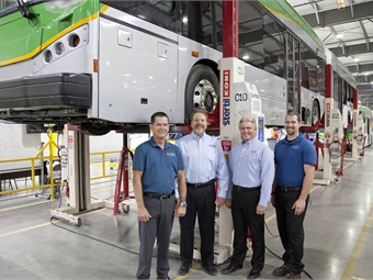 From left to right: Bill Georgia, Southwest Lift & Equipment (SWL) sales person; Ron Reazer, Stertil-Koni Western Regional Sales Manager Bobby Hill, BYD VP of Sales; and Loren Wingenfeld, SWL sales rep and service tech. Stertil-Koni/BYD