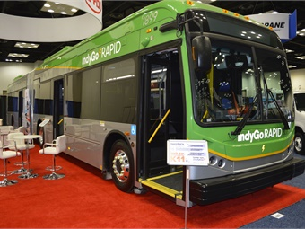 BYD showcased the first 60-foot battery-electric bus delivered to IndyGo for its Red Line BRT system.