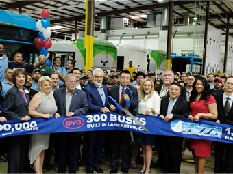 BYD officials were joined by local dignitaries and more to celebrate its 300th battery-electric bus. Photos courtesy BYD