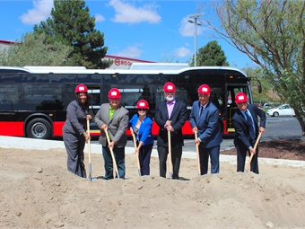 BYD America President Stella Li, Lancaster Mayor R. Rex Parris and VP, Coach and Bus Sales, Macy Neshati (middle) and local dignitaries attended the groundbreaking ceremony.