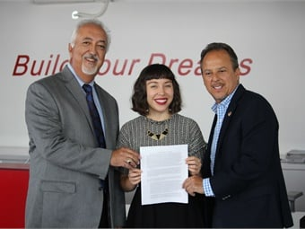 (From left) BYD sr. VP Macy Neshati, Jobs To Move America's National Policy Director Erika Thi Patterson, and Luther Medina, president/business manager for SMART Union Local 105.