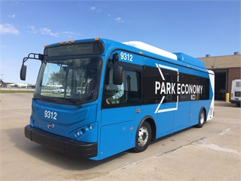 The buses, built by BYD, will serve as parking lot shuttles, bringing passengers to the airport terminals. Photo: Kansas City Airport