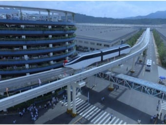 Bird's eye view of SkyRail from BYD global headquarters in Shenzhen, China.