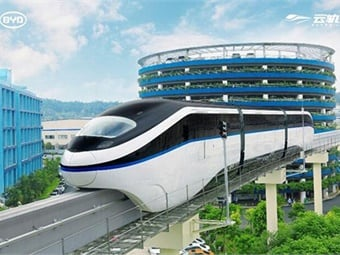 SkyRail is currently operating in Yinchuan, an industrial city in China's northwest. Photo: BYD