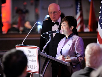 Stella Li, president of BYD Motors Inc., speaking at the U.S.-China Policy Foundation gala dinner.